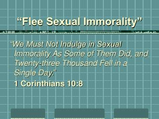 Flee Sexual Immorality