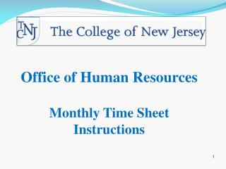Office of Human Resources  Monthly Time Sheet Instructions
