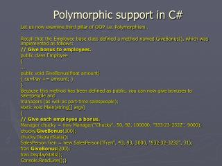 Polymorphic support in C