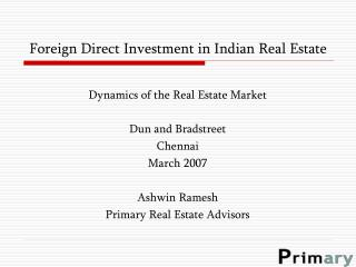 Foreign Direct Investment in Indian Real Estate