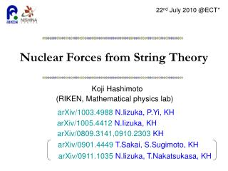Nuclear Forces from String Theory