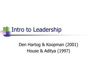 Intro to Leadership