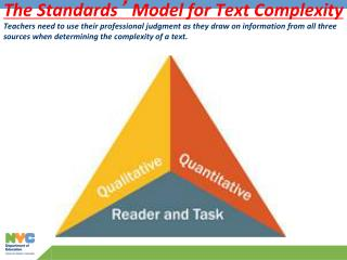 The Standards  Model for Text Complexity Teachers need to use their professional judgment as they draw on information fr