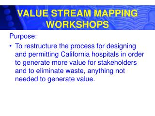 VALUE STREAM MAPPING WORKSHOPS