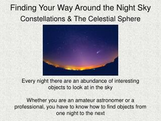 Finding Your Way Around the Night Sky