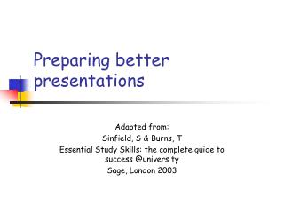 Preparing better presentations