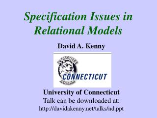 Specification Issues in   Relational Models
