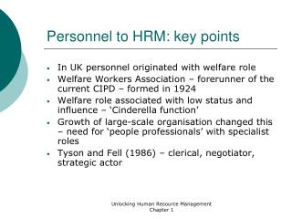 Personnel to HRM: key points