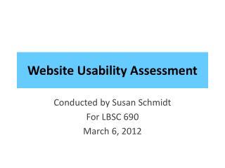 Website Usability Assessment