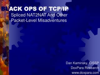 BLACK OPS OF TCP
