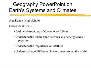 Geography PowerPoint on Earth s Systems and Climates