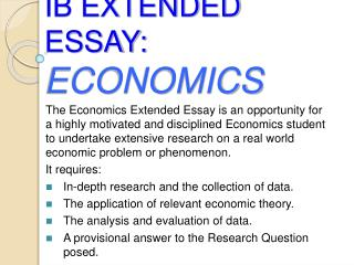 IB EXTENDED ESSAY: ECONOMICS