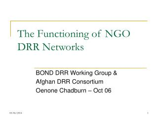 The Functioning of NGO DRR Networks
