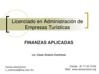 Licenciado en Administraci n de Empresas Tur sticas