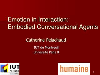 Emotion in Interaction:  Embodied Conversational Agents