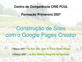 Constru  o de Sites com o Google Pages Creator
