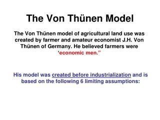 The Von Th nen Model