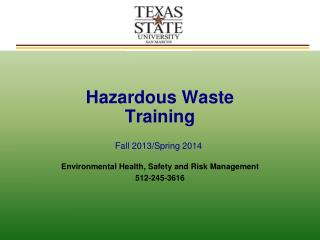 Hazardous Waste  Initial Training