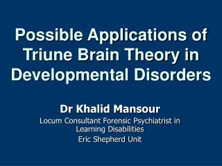 Possible Applications of Triune Brain Theory in Developmental Disorders