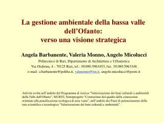 La gestione ambientale della bassa valle dell Ofanto:  verso una visione strategica