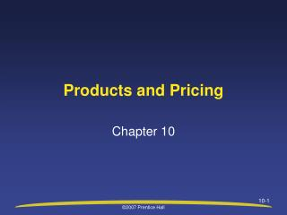 Products and Pricing