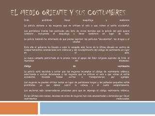 EL MEDIO ORIENTE Y SUS COSTUMBRES