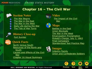 Chapter 16   The Civil War