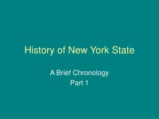 History of New York State