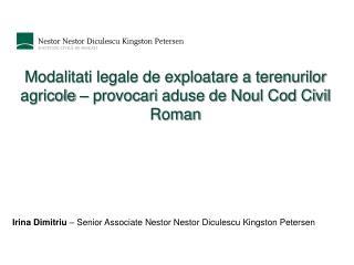 Modalitati legale de exploatare a terenurilor agricole   provocari aduse de Noul Cod Civil Roman