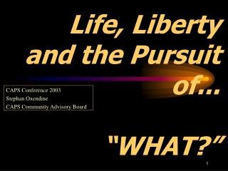 Life, Liberty  and the Pursuit of...    WHAT