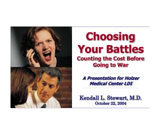 Choosing Your Battles Counting the Cost Before Going to War  A Presentation for Holzer Medical Center LDI