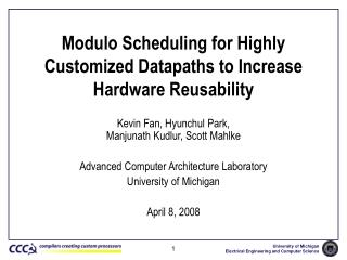 Modulo Scheduling for Highly Customized Datapaths to Increase Hardware Reusability