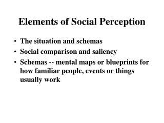 Elements of Social Perception