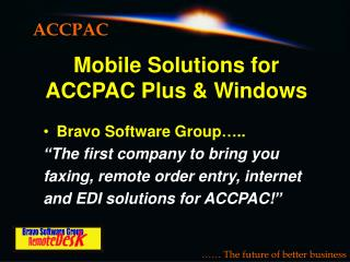 Mobile Solutions for ACCPAC Plus  Windows