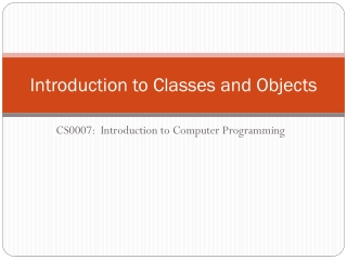 Introduction to Object-Oriented Programming and Classes
