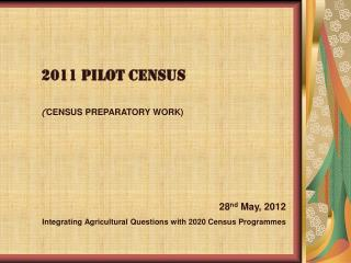 2011 pilot census  CENSUS PREPARATORY WORK