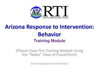 Arizona Response to Intervention: Behavior