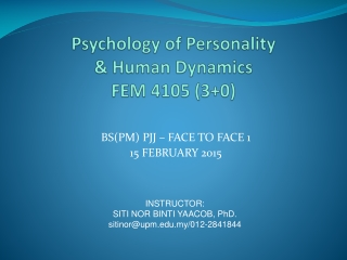 PSYCHOLOGY OF PERSONALITY