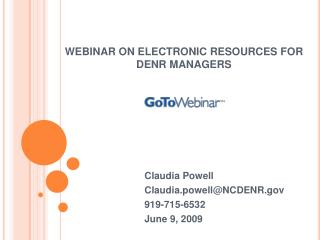 WEBINAR ON ELECTRONIC RESOURCES FOR DENR MANAGERS