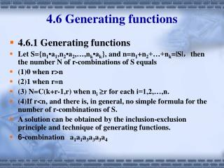 4.6 Generating functions