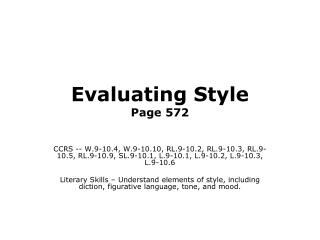 Evaluating Style Page 572