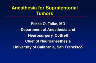 Anesthesia for Supratentorial Tumors