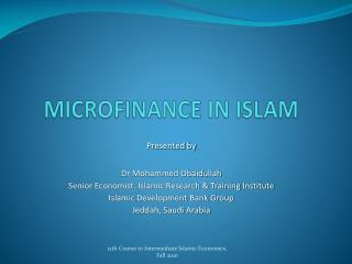 MICROFINANCE IN ISLAM