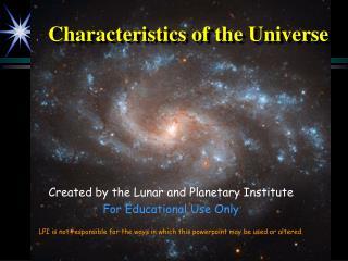 Characteristics of the Universe