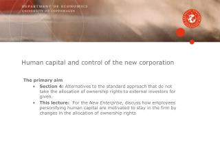 Human capital and control of the new corporation