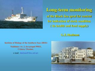 Institute of Biology of the Southern Seas IBSS  Nakhimov Av. 2, Sevastopol 99011,  Crimea, Ukraine,  e-mail: shulmanibs