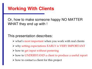Working With Clients
