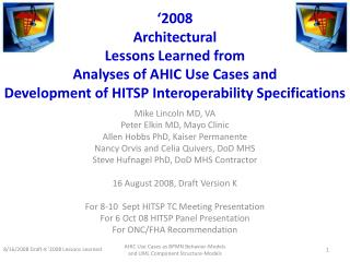 2008  Architectural Lessons Learned from  Analyses of AHIC Use Cases and Development of HITSP Interoperability Specific