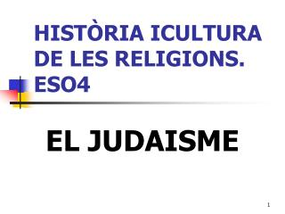 HIST RIA ICULTURA DE LES RELIGIONS. ESO4