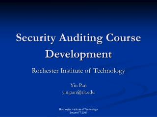 Security Auditing Course Development